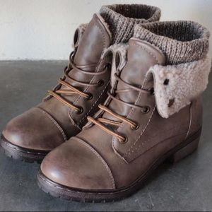 Brand new Coolway leather knit sweater cuff boots